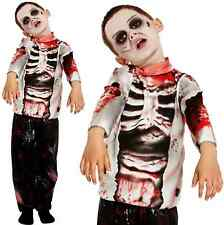 Zombie Boy Walking Dead Corpse Skeleton Halloween Fancy Dress Age 10-12 V00 261