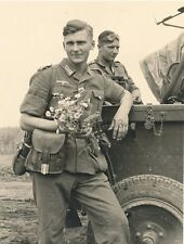 WWII B&W Photo German Wehrmacht Soldier with Flowers  World War Two  WW2 / 2348