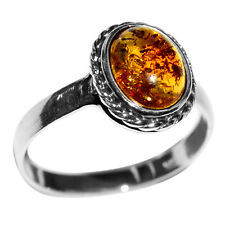 2.5g Authentic Baltic Amber 925 Sterling Silver Ring Jewelry s.11 A7261S11