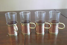 VINTAGE COPPER BRASS GLASSES DRINKING CUP HOLDERS CORK INSERT IRISH COFFEE TEA