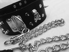 UK MEN WOMEN DOG SLAVE NECK COLLAR WITH LEAD LEASH SLAVE KINKY GOTH FETISH KDC