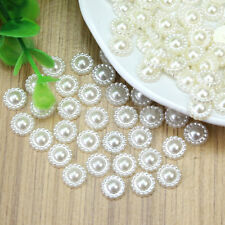 100 Pcs Ivory Flower Plastic Pearl Beads Embellishment Scrapbooking Craft DIY