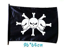 ONE PIECE BANDIERA BARBANERA BARBA NERA 96X64 CM FLAG PIRATI CIURMA RUFY COSPLAY