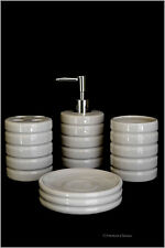 Ivory Ribbed Modern Ceramic 4 Piece Bathroom Accessory Set