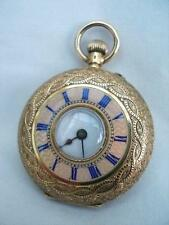 Fine 18k Solid Gold Ladies Half Hunter Pocket Watch With Pink Guilloche Enamel.
