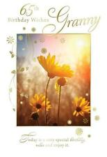65th Birthday Wishes Granny Flower Field & Sun Design Happy Birthday Card