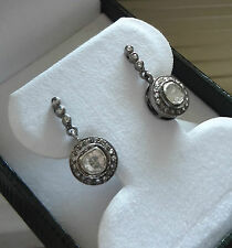 EXQUISITE ESTATE GEORGIAN STERLING SILVER ROSE CUT DIAMOND HALO DROP EARRINGS