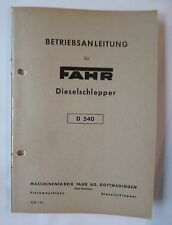 Fahr Schlepper D 540 Bedienungsanleitung