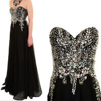 Strapless Long Jewelled Long Evening Ball Gown Chiffon Prom Bridesmaid Dress