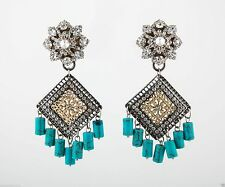 Glynneth B Swarovski Crystals Flower Filligree Square w/turquoise drops earrings