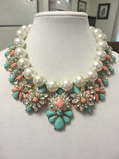 "KIRKS FOLLY SIGNED 18"" PEARL/ STATEMENT NECKLACE NWOT"