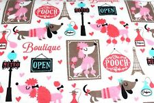 PARIS POOCH CAFE DOGS POODLE FLANNEL FABRIC 100% COTTON SEWING QUILTING SOLD BTY