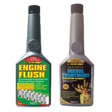 2 Pack ENGINE FLUSH + GOLD FORMULA DIESEL INJECTOR CLEANER FUEL ADDITIVE SET