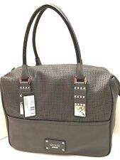 GUESS Handbag ~Rocker Geos~ Satchel Charcoal Tote Purse Shoulder Bag  $118 New