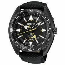 Seiko Men's Prospex Kinetic GMT Black Leather Strap Watch 46mm Case SUN057