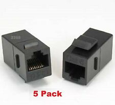 ( 5 pack ) CAT6 Female to Female RJ45 UTP Keystone Jack Coupler, - Black