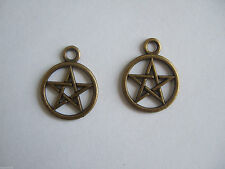 10 Pentacle Pentagram Charms Wicca Star Antique Bronze Wiccan Pagan Pendants