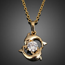 New Fashion Women Dolphin 18k Gold Plated Crystal Necklace Pendant Chain Jewelry