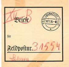 Vorbindezettel f. Feldpost- Briefe v. Postsammelstelle Frankfurt /M. 1939