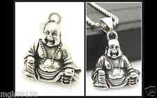 Men Woman Buddha Pendant Silver Solid Stainless Steel Necklace  18""