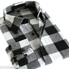 Mens Classic Flannel Plaids Checks Cotton Long Sleeve Casual Dress Shirt Top