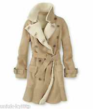 Women's TIMBERLAND SHEARLING LAMBSKIN LEATHER COAT Jacket Fur Ladies SZ10 £880