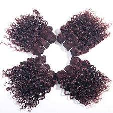 "4Pcs 8"" EVET Brazilian Afro Kinky Curly Human Hair Weft Extensions Color 99J#"