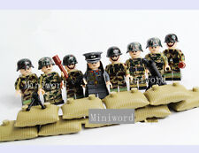 8pcs Minifigures German Army Soldier With Weapons Building Toy Boys' Gift