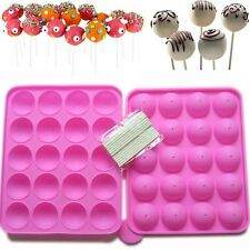 New 20 Silicone Tray Pop Cake Stick Mould Lollipop Party Cupcake Baking Mold US