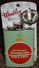 new WEMBLEY 4oz FLASK funnel IT'S THE MOST WONDERFUL TIME FOR a SHOT stainless