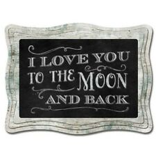 Chalk it Up Wood Sign---LOVE YOU TO THE MOON AMD BOOK---Large Plaque