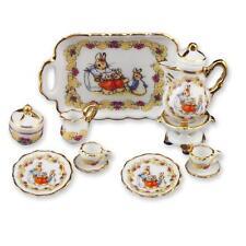 2014 DOLLHOUSE Peter Rabbit Tea Set for Two 57.361/8 Reutter Porcelain 1:12 New