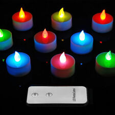 10PC COLOUR CHANGING MINI LED TEALIGHTS WITH REMOTE CONTROL + BATTERIES INCLUDED