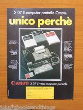 1984 X 07 CANON PORTATILE COMPUTER VINTAGE VECCHIO ANNI 80 INFORMATICA MINI