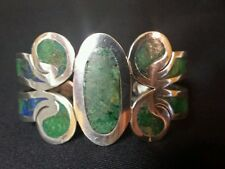 Arte En Plata AMC Sterling and Green Blue Stone Scroll and Oval Cuff Bracelet