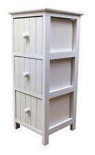 Slim White Bathroom Cabinet 3 Drawer Vanity Storage Unit Modern Furniture Wooden