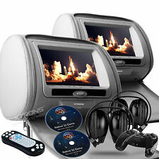 "Gray 2x 7"" HD Car Headrest Digital DVD SD Player Pillow Monitor USB IR Headsets"