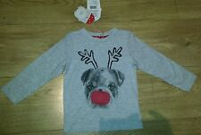 Mothercare Xmas Unisex t-shirt with a flashing nose 9-12 mths NEW