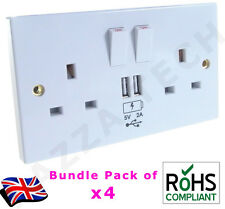 4x 2 Way UK Mains Power Socket USB Charging Ports Connection Wall Plate Plug