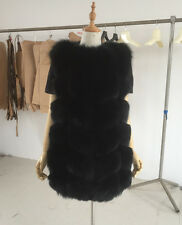 Genuine Real Natural Fox Fur Vest Women Gilet Ladies Top Vogue Long Jacket Coats