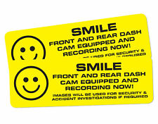 SMILE Dashcam Decal/sticker. IN CAR CCTV WARNING STICKER 200x60mm TAXI STICKER