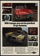 1974 CHEVROLET CAMARO Gold Z28 & Red Sport Coupe 350 V8 Sports Car VINTAGE AD