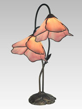Dale Tiffany PINK LILY 2 Light Table Accent Lamp Antique Bronze Lighting TT12146