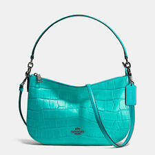 NWT - Coach Chelsea Croc Embossed Leather Purse - Turquoise #37733