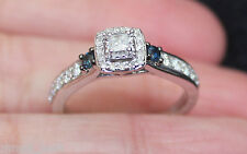 New Sz 7 10K Princess Diamond & Blue Sapphire Halo Engagement Ring White Gold
