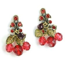 NEW SWEET ROMANCE CHERRIES JUBILEE W GLASS LEAVES PIERCED EARRINGS ~~MADE IN USA