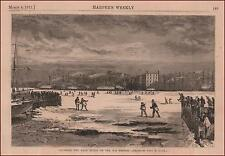 FROZEN Over EAST RIVER, New York, Brooklyn, Walk Over by T R Davis, antique 1871