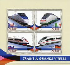 Congo 2015 MNH High-Speed Trains 4v M/S Amtrak Sapsan ICE Railways Stamps