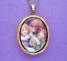 Porcelain SISTERS Friends & COLLIE DOG CAMEO Locket Necklace for Birthday Gift