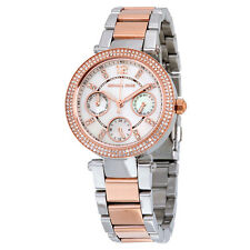 NEW MICHAEL KORS MK6306 MINI PARKER MOP GLITZ DIAL TWO-TONE CHRONO WOMEN'S WATCH